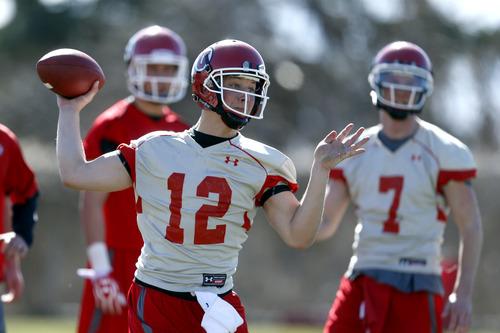 Chris Detrick     The Salt Lake Tribune Utah quarterback Adam Schulz throws the ball during spring practice Tuesday March 19, 2013.