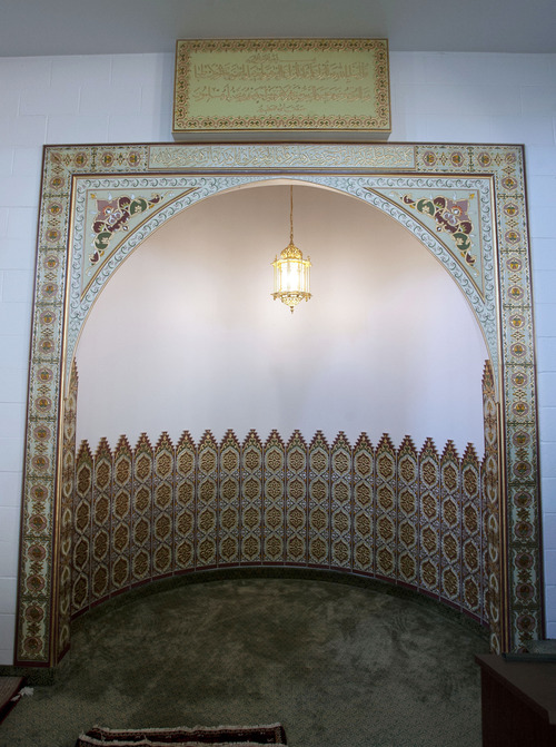 Steve Griffin   The Salt Lake Tribune  The mihrab, an ornamental indentation in the wall of a mosque that marks the direction prayer, at the Khadeeja Islamic Center in West Valley City Sunday July 21, 2013.
