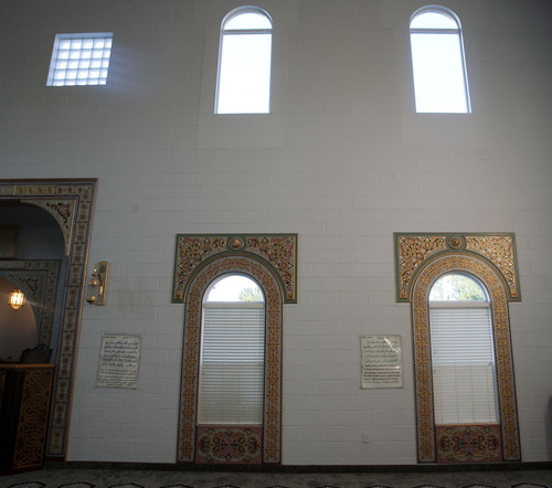 Steve Griffin | The Salt Lake Tribune  Ornately decorated windows in the Khadeeja Islamic Center in West Valley City Sunday July 21, 2013.