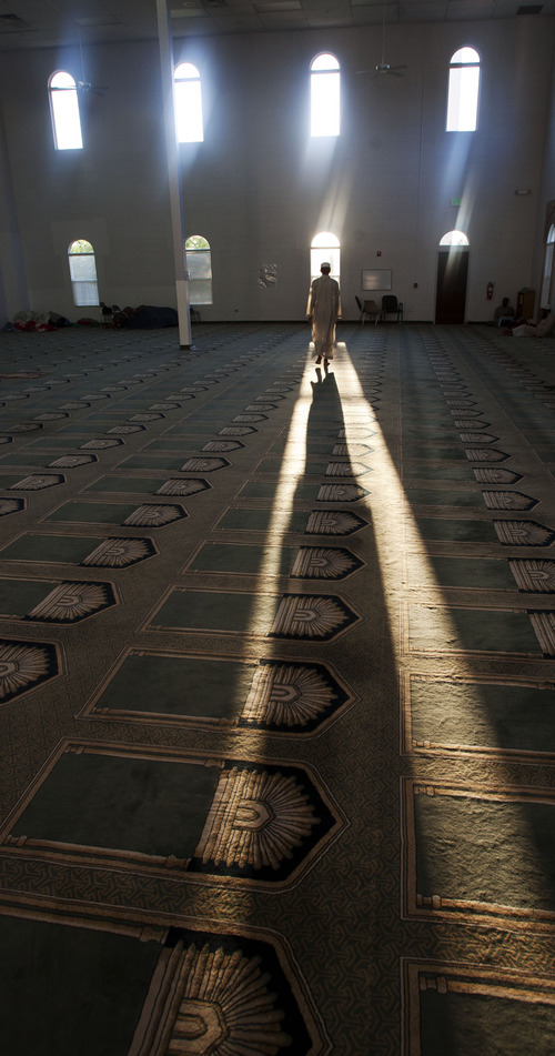 Steve Griffin | The Salt Lake Tribune  Evening sun pours in the windows in the prayer hall at the Khadeeja Islamic Center in West Valley City Sunday July 21, 2013.