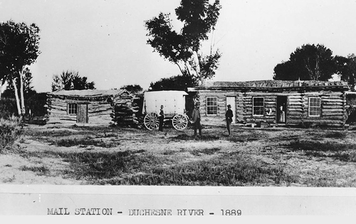 Photo Courtesy Utah State Historical Society  Stage mail station along the Duchesne River, 1901