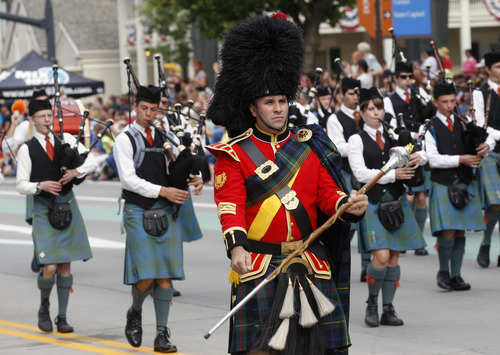Al Hartmann  |  The Salt Lake Tribune The Utah Pipe Band marches and plays in the Days of '47 Parade in downtown Salt Lake City Wednesday July 24.