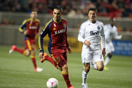 Kim Raff   The Salt Lake Tribune Real Salt Lake forward Fabian Espindola (7), now a member of the New York Red Bulls, faces his old team for the first time on Saturday in New Jersey.