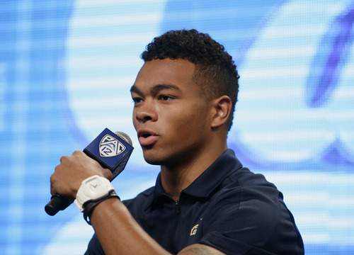 California wide receiver Bryce Treggs talks to the media during the NCAA college football Pac-12 Media Day on Friday, July 26, 2013, in Culver City, Calif. (AP Photo/Jae C. Hong)