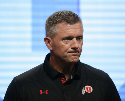 Utah head coach Kyle Whittingham during the NCAA college football Pac-12 Media Day on Friday, July 26, 2013, in Culver City, Calif. (AP Photo/Jae C. Hong)