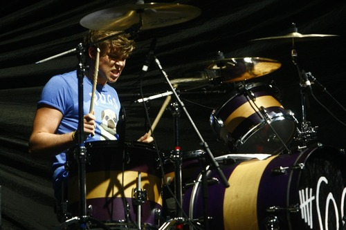 Chris Detrick  |  The Salt Lake Tribune 5 Seconds of Summer drummer Ashton Irwin performs at the Maverik Center Thursday July 25, 2013.