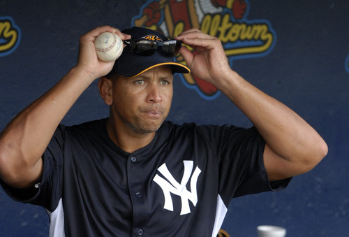 FILE - In this July 15, 2013, file photo, New York Yankees third baseman Alex Rodriguez heads out to batting practice before a Class AA baseball game with the Trenton Thunder against the Reading Phillies in Reading, Pa. After a week's worth of high drama, second-guessing and radio interviews, it seems Rodriguez is about to be lumped with Yankees who sort of just didn't fit, failed or just faded away _ the Dave Winfield, Kevin Brown, Randy Johnson and Carl Pavano wing of infamy rather than the Monument Park honor roll of Babe Ruth, Lou Gehrig, Joe DiMaggio and Yogi Berra. (AP Photo/Bradley C Bower, File)