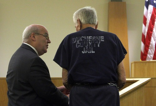 Rick Egan  | The Salt Lake Tribune   Attorney Bill Morrison (left) stands with Charles Edward Dodd, during a preliminary hearing in the 8th District Court, in Duchesne, Thursday, October 13, 2011.  Dodd, 75, is charged with first-degree murder for the death of his ill wife. He allegedly tried to commit suicide after killing her.