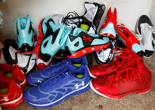 Trent Nelson     The Salt Lake Tribune Shoes in the closet of Roy High School's Brekkott Chapman, who is becoming somewhat of a national phenomenon. The 6-foot-8 lefty has been invited to several national, high-end basketball camps this summer and has been the best player at nearly every one. Friday June 21, 2013 in Roy.