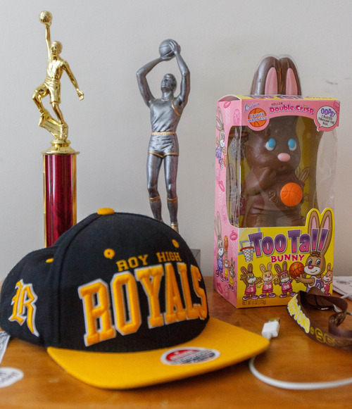 Trent Nelson     The Salt Lake Tribune A pair of trophies and a too-tall chocolate bunny in Roy High School's Brekkott Chapman's bedroom. Chapman is becoming somewhat of a national phenomenon. The 6-foot-8 lefty has been invited to several national, high-end basketball camps this summer and has been the best player at nearly every one. Friday June 21, 2013 in Roy.