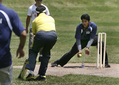 "Scott Sommerdorf   |  The Salt Lake Tribune Venu Venkatesh of ""Mind It"" makes a play at the wicket against Utah Challengers in Salt Lake City, Saturday, July 13, 2013."