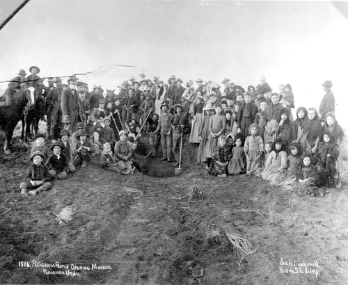 Photo courtesy of James McDonald, Southern Utah University  An image from 1915 when the people of Paragonah opened mounds containing artifacts from an ancient Fremont village site. The site is now being preserved by the non-profit Archaeological Conservancy.