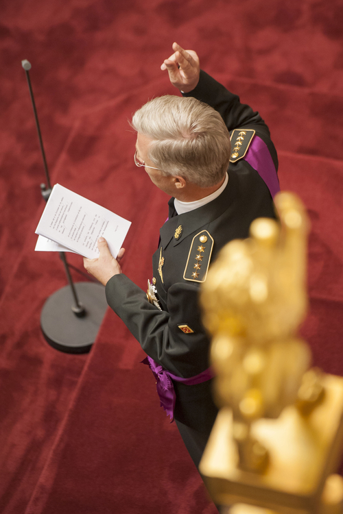Belgium's Prince Philippe takes the oath at the Palace of the Nation in Brussels on Sunday, July 21, 2013. Philippe has taken the oath before parliament to become Belgium's seventh king after his father Albert II abdicated as the head of this fractured nation. Earlier Sunday, the 79-year-old Albert signed away his rights as the kingdom's largely ceremonial ruler at the royal palace in the presence of Prime Minister Elio Di Rupo, who holds the political power in this 183-year-old parliamentary democracy. (AP Photo/Goris Brecht, Pool)