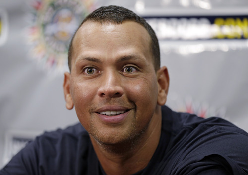 New York Yankees third baseman Alex Rodriguez speaks to reporters during a news conference before playing in his first rehab game with the Charleston RiverDogs in Charleston, S.C., Tuesday, July 2, 2013. (AP Photo/Chuck Burton)