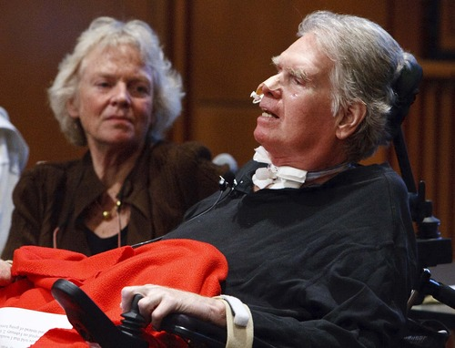 Leah Hogsten  |  The Salt Lake Tribune Brooke Hopkins and Peggy Battin, tell the story of how they transformed their home in order to survive and live with a spinal chord injury as the keynote speakers at the U. of U. Disabilities Forum, which focuses on homes, housing and people with disabilities Friday, April 20 2012 in Salt Lake City.