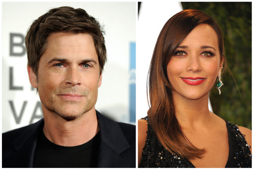 """FILE - NBC's """"Parks and Recreation"""" cast members Rob Lowe, left, and Rashida Jones are seen in April, 2012, left, and Feb, 2013 file photos. Lowe and Rashida Jones will leave the series after the 13th episode of the upcoming sixth season. They play characters Chris Traeger and Ann Perkins. The news was first reported by Buzzfeed. (AP Photo/Invision, File)"""