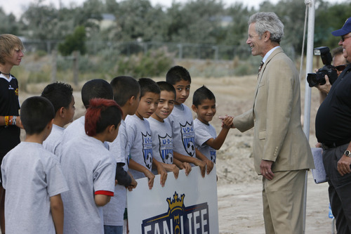 Francisco Kjolseth  |  The Salt Lake Tribune Mayor Ralph Becker meets young soccer members of the Utah Development Academy during an event recognizing both the official re-start of construction on the city's voter-approved Regional Athletic Complex (RAC) and RSL's gift of $7.5 million to help complete the project.