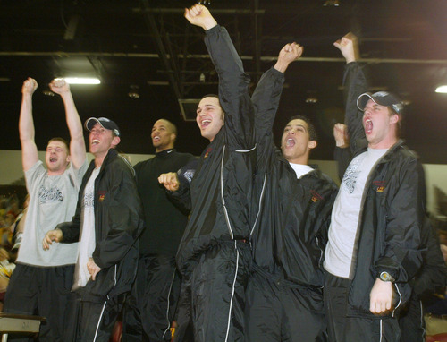 Central Michigan players react to their NCAA selection Sunday, March 16, 2003, at Rose Arena in Mount Pleasant, Mich. From left are Adam Dentlinger, Tom Pantlind, Whitney Robinson, Gerrit Brigitha, Tony Bowne and Dan Quinn. Central Michigan, the MAC tournament champion and the No. 11 seed in the West bracket, will face No. 6-seeded Creighton in the first round. (AP Photo/Al Goldis)
