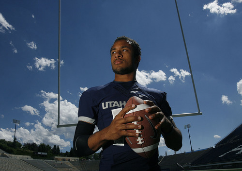 Scott Sommerdorf      The Salt Lake Tribune QB Chuckie Keeton at Romney Stadium in Logan, Thursday, August 1, 2013.