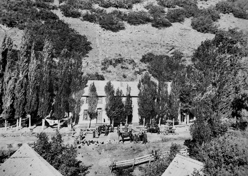"Salt Lake Tribune archive  A ""half-way house"" in Parley's canyon. The cafe and hotel was so named because it was half way between Salt Lake and Park City. It was on the east side of the canyon near the road to Lamb's Canyon."