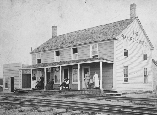 Salt Lake Tribune archive  Juab, Utah hotel and railroad station in 1883.