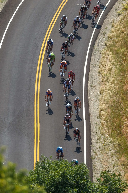 Trent Nelson     The Salt Lake Tribune Riders descend into East Canyon during Stage 3 of the Tour of Utah at the top of East Canyon in Salt Lake City, Utah Thursday, August 9, 2012.