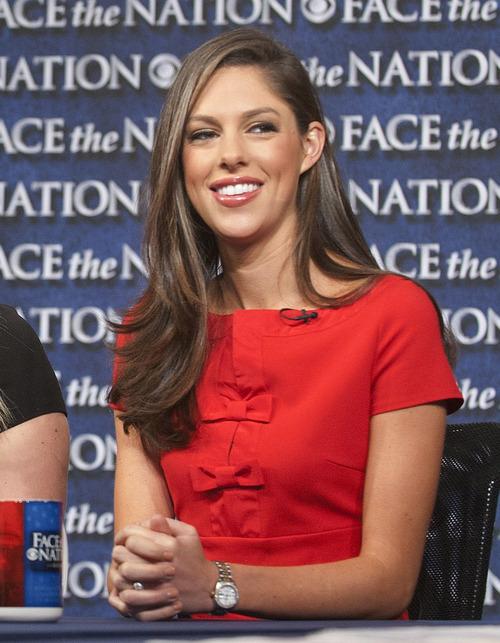 "In this photo from CBS News last November, Abby Huntsman Livingston, daughter of ex-Utah Gov. Jon Huntsman, appears on ""Face the Nation"" in Washington, D.C.  AP Photo | CBS News"