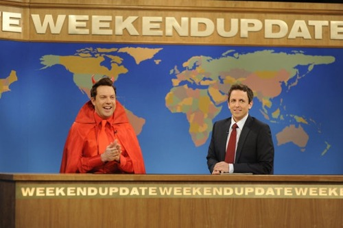 "SATURDAY NIGHT LIVE -- Episode 1592 ""Miley Cyrus"" -- Pictured: (l-r) Jason Sudeikis, Seth Meyers -- Photo by: Dana Edelson/NBC"