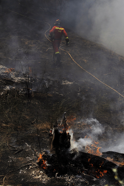 The trunk of a tree burns as a firefighters works to control the fire in the outskirts of Cebreros, Spain, Sunday, Aug. 4, 2013.  Officials say more than 550 firefighters backed up by 17 water-carrying aircraft are trying to bring a large wildfire under control, 92 kilometers (57 miles) west of Madrid.  Regional government spokesman Francisco Jose Sanchez says that although the flames, which were first detected Saturday, are still raging out of control a day later, he was hopeful the fire could be contained in coming hours, declaring there is some evidence the fire had been started deliberately and investigators are looking into the outbreak. (AP Photo/Andres Kudacki)