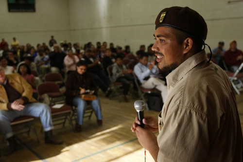 Brown Beret Sergeant at Arms Isaac Giron speaks during a community meeting at the Centro Civico Mexicano Thursday, April 9, 2009.  The Utah Coalition of La Raza and the Mexican Club Federation met with the Latino community to discuss SB81 and recent announcements by law enforcement that they won't cross-deputize their police officers as ICE agents. Chris Detrick/The Salt Lake Tribune