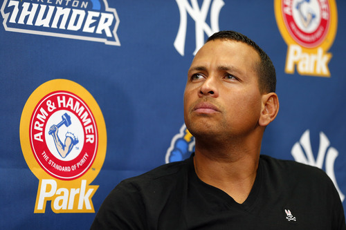 New York Yankees third baseman Alex Rodriguez answers questions from the media during a press conference after a minor league baseball rehab start with the Trenton Thunder in a game against the Reading Fightin Phils, Saturday, Aug. 3, 2013 at Arm & Hammer Park in Trenton, N.J.. (AP Photo/Rich Schultz)