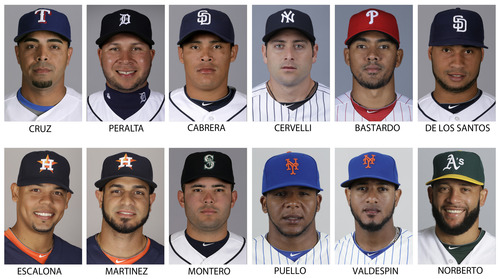 In these 2013 file photos are, top row from left; Texas Rangers' Nelson Cruz, Detroit Tigers'Jhonny Peralta, San Diego Padres' Everth Cabrera, New York Yankees' Francisco Cervelli, Philadelphia Phillies' Antonio Bastardo and San Diego Padres' Fautino de los Santos. Bottom row from left are: Houston Astro's Sergio Escalona, Houston Astros' Fernando Martinez, now with the New York Yankees, Seattle Mariners' Jesus Montero, New York Mets' Cesar Puello, New York Mets' Jordan Valdespin and Oakland Athletics' Jordan Norberto. Alex Rodriguez remained the lone holdout while All-Stars Nelson Cruz, Jhonny Peralta and Everth Cabrera were among 12 players who accepted 50-game penalties from Major League Baseball on Monday, Aug. 5, 2013,  as part of its Biogenesis drug investigation, a person familiar with the negotiations told The Associated Press.  (AP Photo/File)