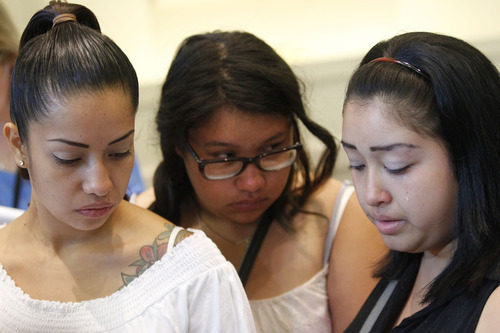 Al Hartmann  |  The Salt Lake Tribune Sisters Ana, Valeria, and Johana Portillo react to the plea of an unidentified juvenile in the death of their father Ricardo Portillo outside Fourth District Court in Salt Lake City Monday August  5.