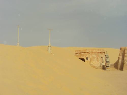 "Sand has already begun to overtake the set of Anakin Skywalker's childhood home from the 1999 film ""Episode 1: The Phantom Menace,"" a photo taken this summer shows. (Courtesy BYU)"