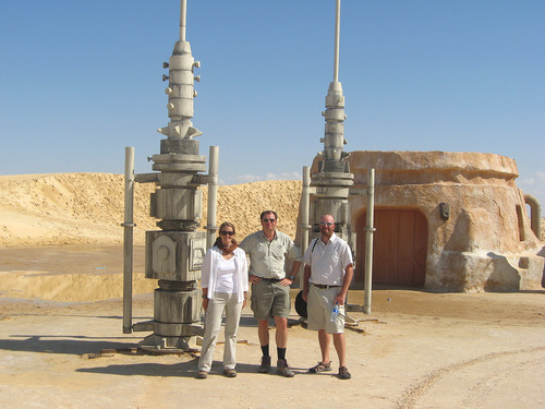 BYU geologist Jani Radebaugh, left, with Ralph Lorenz of Johns Hopkins University and Jason Barnes of the University of Idaho, right, shown in September 2009. (Courtesy BYU)