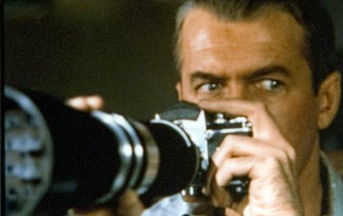 "Salt Lake Tribune archive  James Stewart in the Alfred Hitchcock film ""Rear Window."""