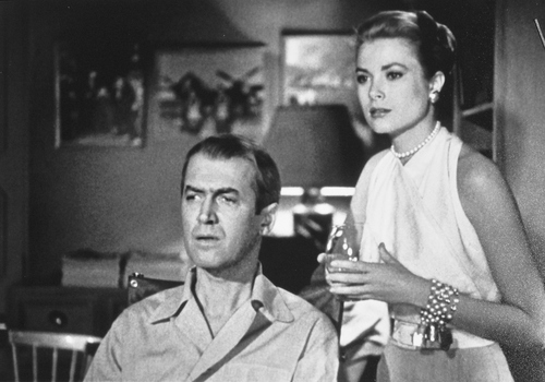 """Salt Lake Tribune archive  James Stewart and Grace Kelly in the Alfred Hitchcock film """"Rear Window."""""""