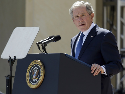 File - In this April 25, 2013 file photo, former President George W. Bush speaks during the dedication of the George W. Bush Presidential Center in Dallas. Bush has successfully undergone a heart procedure after doctors discovered a blockage in an artery. Bush spokesman Freddy Ford says a stent was inserted during a procedure Tuesday, Aug 6, 2013 at Texas Health Presbyterian Hospital in Dallas. (AP Photo/Tony Gutierrez, Pool, File)