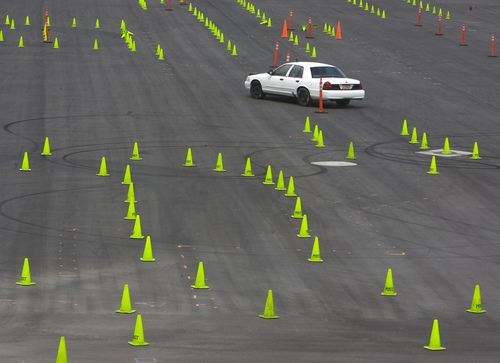 Keith Johnson | The Salt Lake Tribune  Lindsey Tait, 17, maneuvers a vehicle through an obstacle course at the Department of Public Safety Emergency Vehicle Operations driving range in Lehi on Wednesday, Aug. 7, 2013. Lindsey and two other drivers deprived themselves of sleep for 30 hours before demonstrating the potential effects of drowsy driving. It was coordinated by Sleep Smart. Drive Smart., an alliance of organizations dedicated to educating the public about the potentially fatal consequences of driving tired.