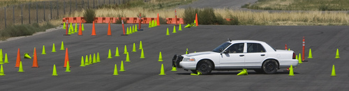 Keith Johnson | The Salt Lake Tribune  Kylie LaLumia maneuvers a vehicle through an obstacle course at the Department of Public Safety Emergency Vehicle Operations driving range in Lehi on Wednesday, Aug. 7, 2013. Kylie and two other drivers deprived themselves of sleep for 30 hours before demonstrating the potential effects of drowsy driving. It was coordinated by Sleep Smart. Drive Smart., an alliance of organizations dedicated to educating the public about the potentially fatal consequences of driving tired.