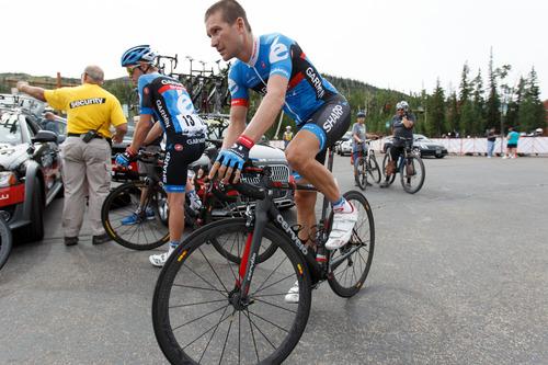 Trent Nelson  |  The Salt Lake Tribune Team Garmin-Sharp rider David Zabriskie warms up before the start of the Tour of Utah at Brian Head Tuesday August 6, 2013.