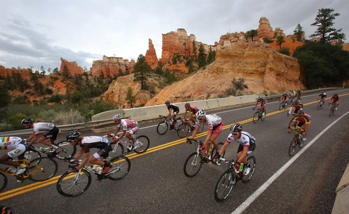 Francisco Kjolseth  |  The Salt Lake Tribune The Tour of Utah covers some of Utah's most scenic areas for stage 2 including a section of Bryce Canyon National Park with riders taking on 130 miles from Panguitch to Torrey on Wednesday, Aug. 7, 2013.