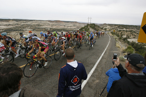 Francisco Kjolseth  |  The Salt Lake Tribune The peloton climbs onto the Hogsback from Calf Creek along Highway 12 as the Tour of Utah covers some of Utah's most scenic areas for stage 2 with riders taking on 130 miles from Panguitch to Torrey on Wednesday, Aug. 7, 2013.