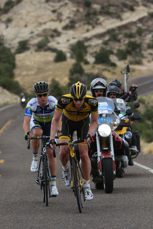 Francisco Kjolseth  |  The Salt Lake Tribune Martin Wesemann of team MTN-Qhubeka, front, and Michael Hepburn of team Orica Greenedge climb ahead of the peloton along the Hogsback on Highway 12 as the Tour of Utah covers some of Utah's most scenic areas for stage 2 with riders taking on 130 miles from Panguitch to Torrey on Wednesday, Aug. 7, 2013.