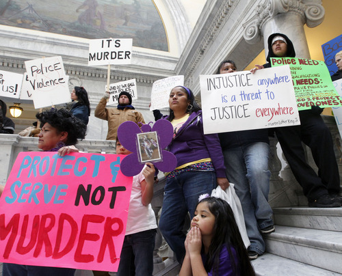 Al Hartmann  |  The Salt Lake Tribune Friends, family and citizens demonstrate in the state capitol in front of the Supreme Court Monday March 4 against what they believe was excessive force by police in the deaths of Danielle Willard, Corey Kanosh and Kelly Simmons.