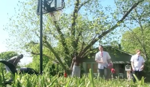 "A screen grab from the viral ""Mormon Missionary can ball"" video."