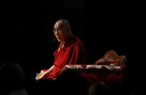 Tibetan spiritual leader the Dalai Lama addresses Tibetan exiles living in Bangalore, in Bangalore, India, Tuesday, Nov. 27, 2012.  (AP Photo/Aijaz Rahi)
