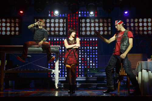 """This theater publicity image released by The Hartman group shows Kristoffer Cusick, left,  Krysta Rodriguez, center, and Bryce Ryness during a performance of the musical """"First Date,"""" at the Longacre Theatre in New York. (AP Photo/The Hartman Group, Joan Marcus)"""