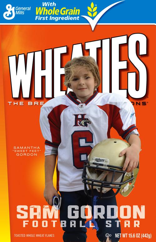 Sam Gordon, 9, of South Jordan, appears on a custom-designed box of Wheaties cereal.