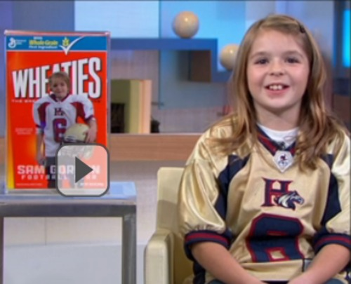 """Samantha Gordon appeared on """"Good Morning America"""" on Wednesday where anchor Josh Elliott unveiled a Wheaties cereal box featuring her image."""